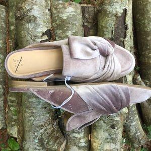 NWOT Shoes Knotted Lilac Velvet Slides Slip On